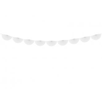 Girlanda bibułowa Rozety, biały, 3m