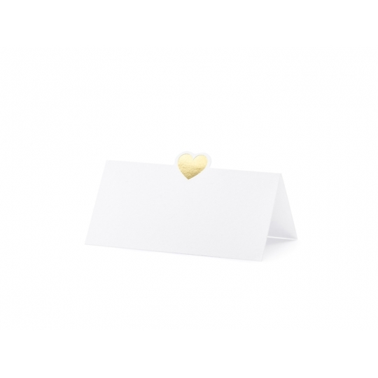 Wizytówki na stół - Serce, złoty, 10x5cm (1 op. / 10 szt.)