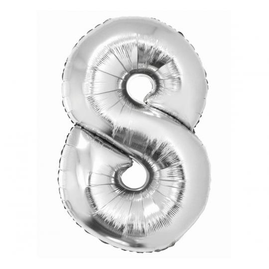 """Balon foliowy Cyfra """"8"""", 86cm, srebrny"""