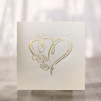 Zaproszenia Ślubne Złocone z sercami F1221