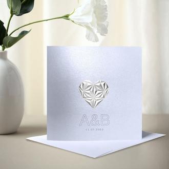 Zaproszenie Ślubne w Kolorze Białym z Trójwymiarowym Srebrnym Sercem F1428tb