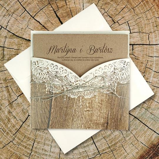 Zaproszenie ślubne w formie kieszonki f1459
