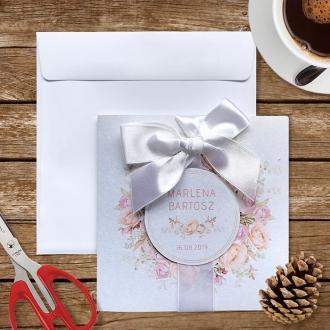 Zaproszenie ślubne z kwiatowym wiankiem f1476