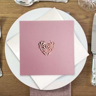 Zaproszenie ślubne z trójwymiarowym sercem f1428R
