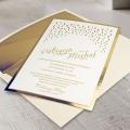 Zaproszenie ślubne ze złotym nadrukiem f1463