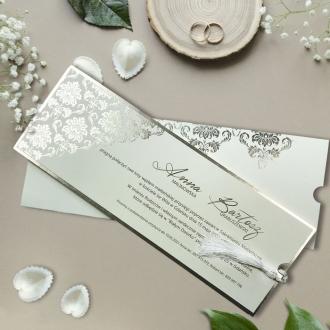 Zaproszenie ślubne kieszonka z frędzlem F3678