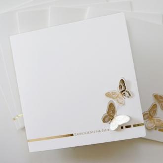 Zaproszenia Ślubne Złote Motyle F1227