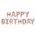 Balon foliowy Happy Birthday, 340x35cm, różowe złoto