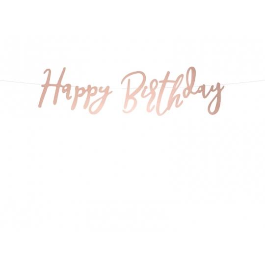 Baner Happy Birthday, różowe złoto, 16,5x62cm