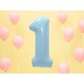 """Balon foliowy Cyfra """"1"""", 86cm, jasny niebieski"""