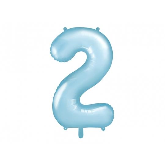 """Balon foliowy Cyfra """"2"""", 86cm, jasny niebieski"""