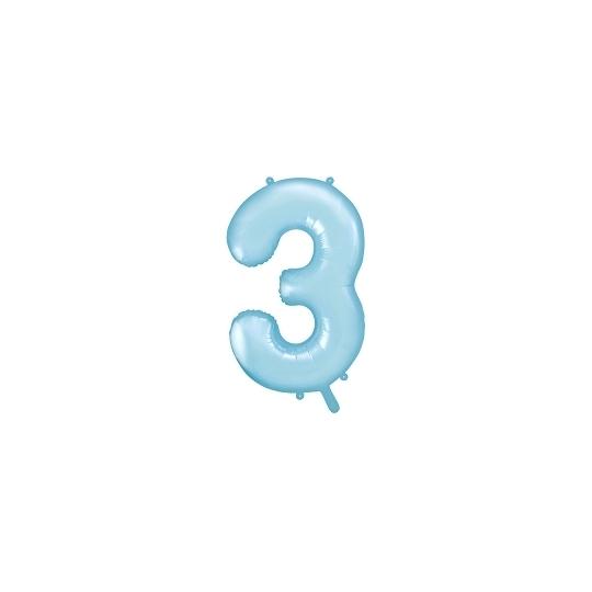 """Balon foliowy Cyfra """"3"""", 86cm, jasny niebieski"""