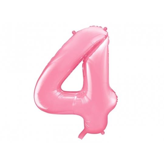 """Balon foliowy Cyfra """"4"""", 86cm, różowy"""