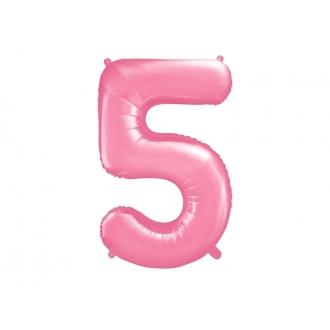 """Balon foliowy Cyfra """"5"""", 86cm, różowy"""