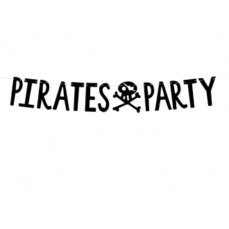 Baner Piraci - Pirates Party, czarny, 14x100cm
