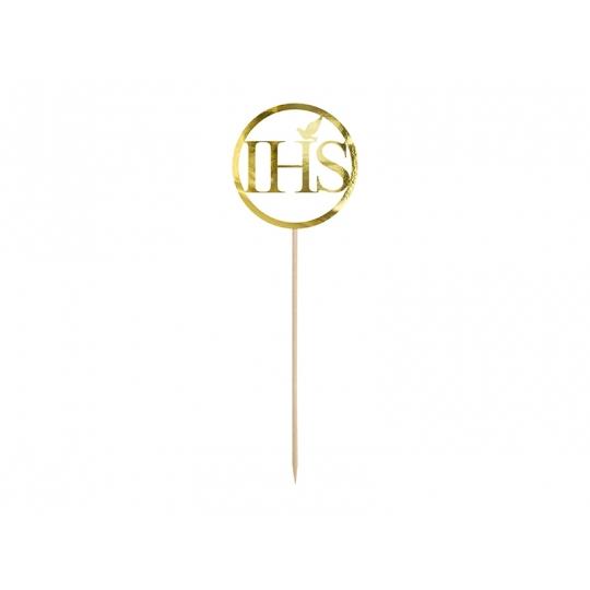 Topper na tort IHS, złoty, 22cm