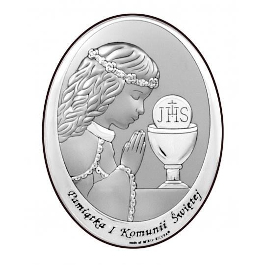 Obrazek Srebrny na Pierwszą Komunię z Dziewczynką 9x13 cm
