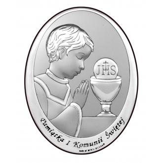 Obrazek Srebrny na Pierwszą Komunię z Chłopcem 9x13 cm