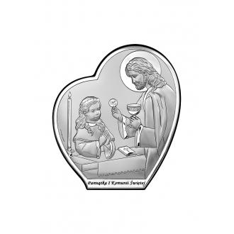 Obrazek Srebrny na Pierwszą Komunię 12X13,5 cm