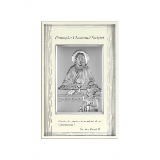 Obrazek Srebrny na Pierwszą Komunię z Chłopcem 9x14 cm