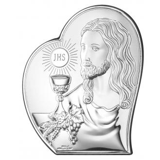 Obrazek Srebrny na Pierwszą Komunię z Panem Jezusem 8,5x10,7 cm