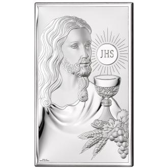 Obrazek Srebrny na Pierwszą Komunię z Panem Jezusem 6,5x11 cm