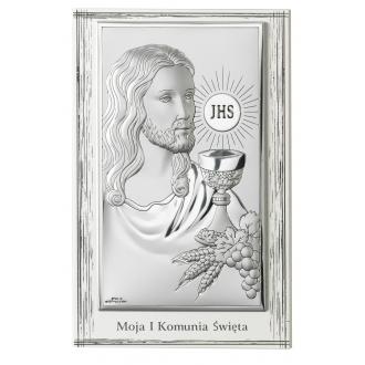 Obrazek Srebrny na Pierwszą Komunię z Panem Jezusem 9x13 cm