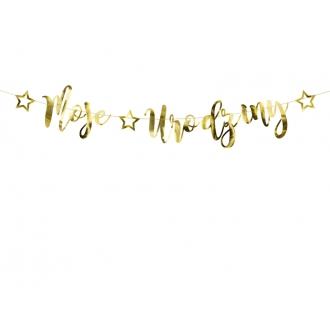 Baner Moje urodziny, złoty, 16,5x90cm
