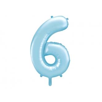 """Balon foliowy Cyfra """"6"""", 86cm, jasny niebieski"""