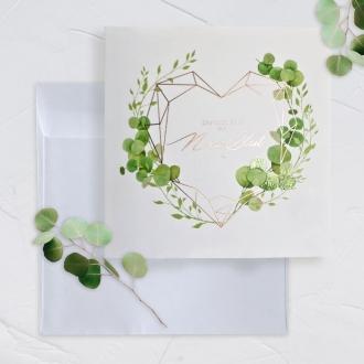 Zaproszenie Ślubne botaniczne serduszko  F1492