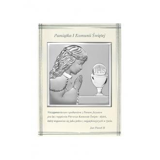 Obrazek Srebrny na Pierwszą Komunię z Dziewczynką 10,3x14 cm