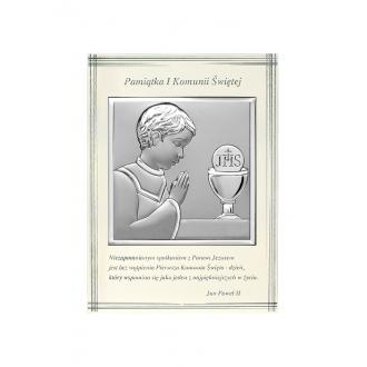 Obrazek Srebrny na Pierwszą Komunię z Chłopcem 10,3x14 cm