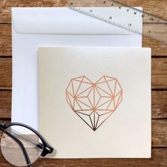 Zaproszenie Ślubne w Kolorze Ecru z geometrycznym  Sercem F1478