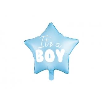 Balon foliowy Gwiazdka - It's a boy, 48cm, jasny niebieski