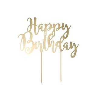 Topper na tort Happy Birthday, złoty 22,5cm