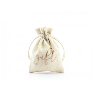 Woreczki bawełniane - Gift, różowe złoto, 7,5x10cm (1 op. / 10 szt.)