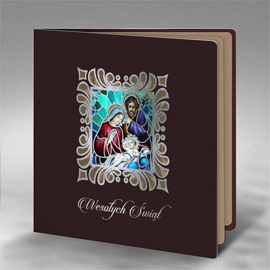 Brązowa Kartka Świąteczna ze świętą Rodziną