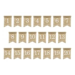 Jutowe numery na stoł, biały, 7x10,5cm (1 op. / 20 szt.)
