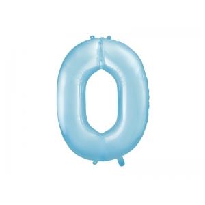 """Balon foliowy Cyfra """"0"""", 86cm, jasny niebieski"""