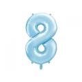 """Balon foliowy Cyfra """"8"""", 86cm, jasny niebieski"""