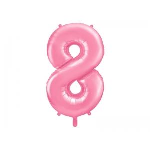 """Balon foliowy Cyfra """"8"""", 86cm, różowy"""