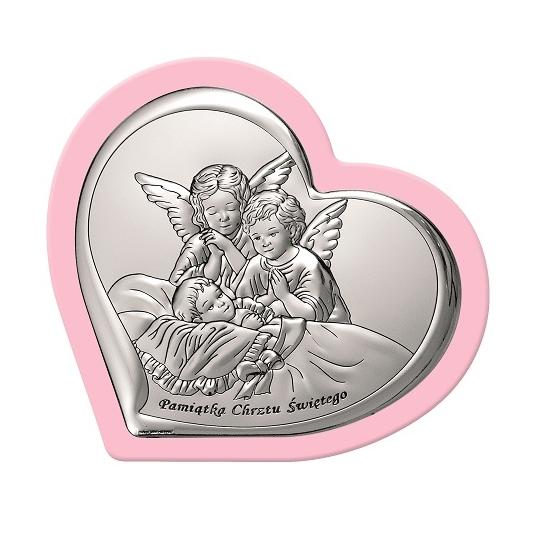 Srebrny Obrazek na Różowym panelu 13,8-12cm