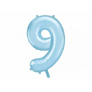"""Balon foliowy Cyfra """"9"""", 86cm, jasny niebieski"""