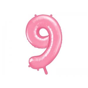 """Balon foliowy Cyfra """"9"""", 86cm, różowy"""