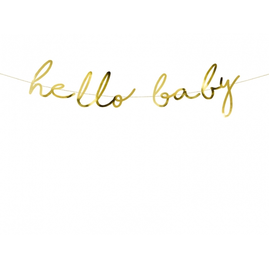 Baner Little Star - Hello Baby, złoty, 18x70cm