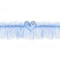 Podwiązka szyfonowa z serduszkiem, błękit