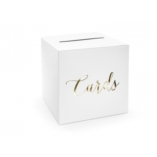 Pudełko na koperty - Cards, złoty, 24x24x24cm