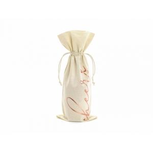 Woreczki bawełniane na wino - Cheers, różowe złoto, 15,5x36cm