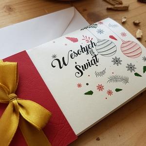 Bordowa Kartka Świąteczna - WS006
