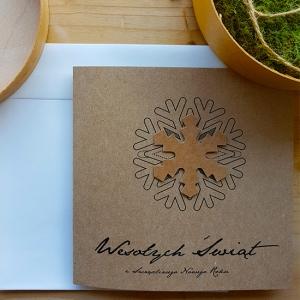 Ekologiczna Kartka Świąteczna ze śnieżką - WS009